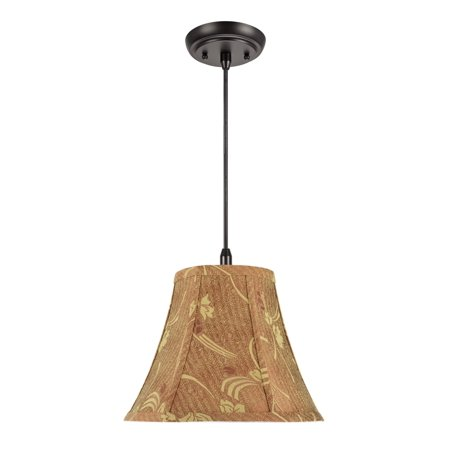 "Aspen Creative 70156 One-Light Hanging Pendant Ceiling Light with Transitional Bell Fabric Lamp Shade, Copper, 12"" width"