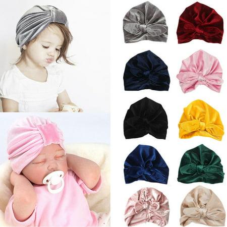 Baby Hat, Knit Solid Color Soft Bunny Ear Head Wrap Headband Infan Toddler Cap Beanie Scarf Turban for Newborn Girl Boy