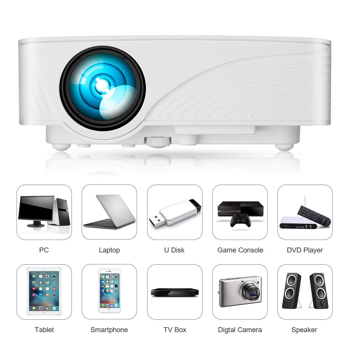 Exquizon LED GP12 Portable Projector 800*480P Support 1080P HDMI USB SD AV Connect White US PLUG