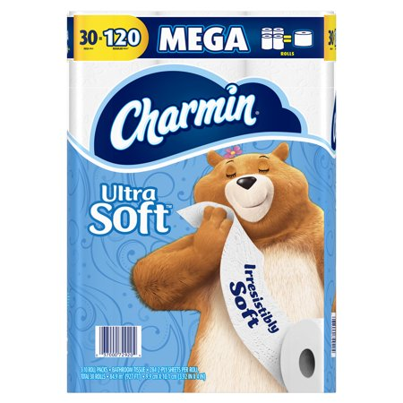 Charmin Ultra Soft Toilet Paper, 30 Mega Rolls (= 120 Regular (Best Toilet Paper For Your Money)