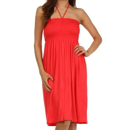 - Sakkas Everyday Essentials String Halter Dress - Coral - Large