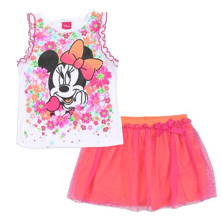 Disney Little Girls Pink Minnie Mouse Flower Print 2 Pc Skirt Outfit
