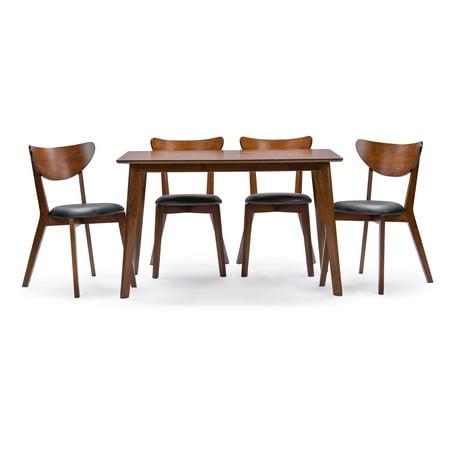Baxton Studio Sumner Mid-Century-Style Walnut Brown 5-Piece Dining Set 5 Piece Studio