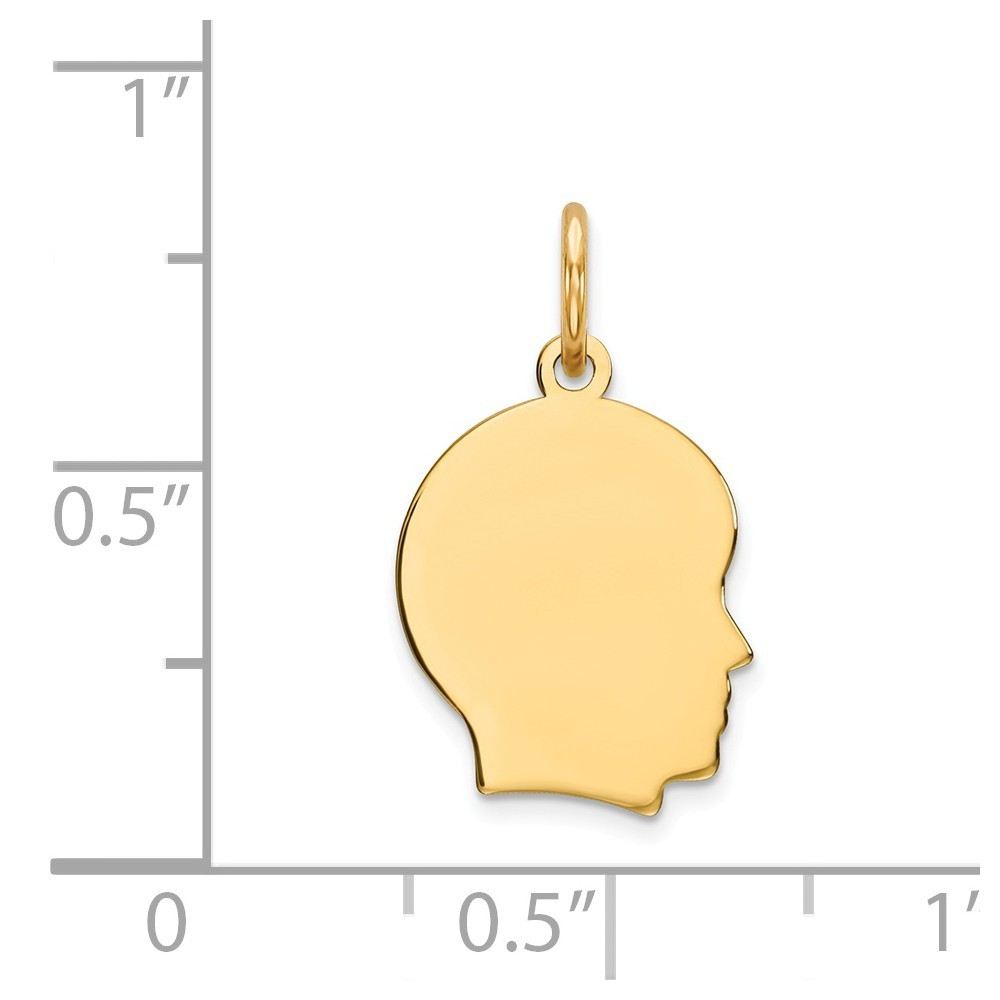 14k Yellow Gold Solid Polished Plain Sml.013 Gauge Facing Right Girl Head Charm