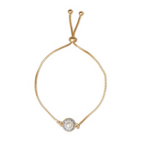 X & O 14K Gold Plated Clear and Light Rose Halo Drawstring Bracelet, Made with Swarovski Crystals