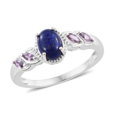 925 Sterling Silver Lapis Lazuli Cubic Zircon Amethyst Ring