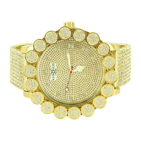 Flower Bezel Khronos Watch Gold Tone Genuine Diamonds Iced Out Analog Brand New Custom