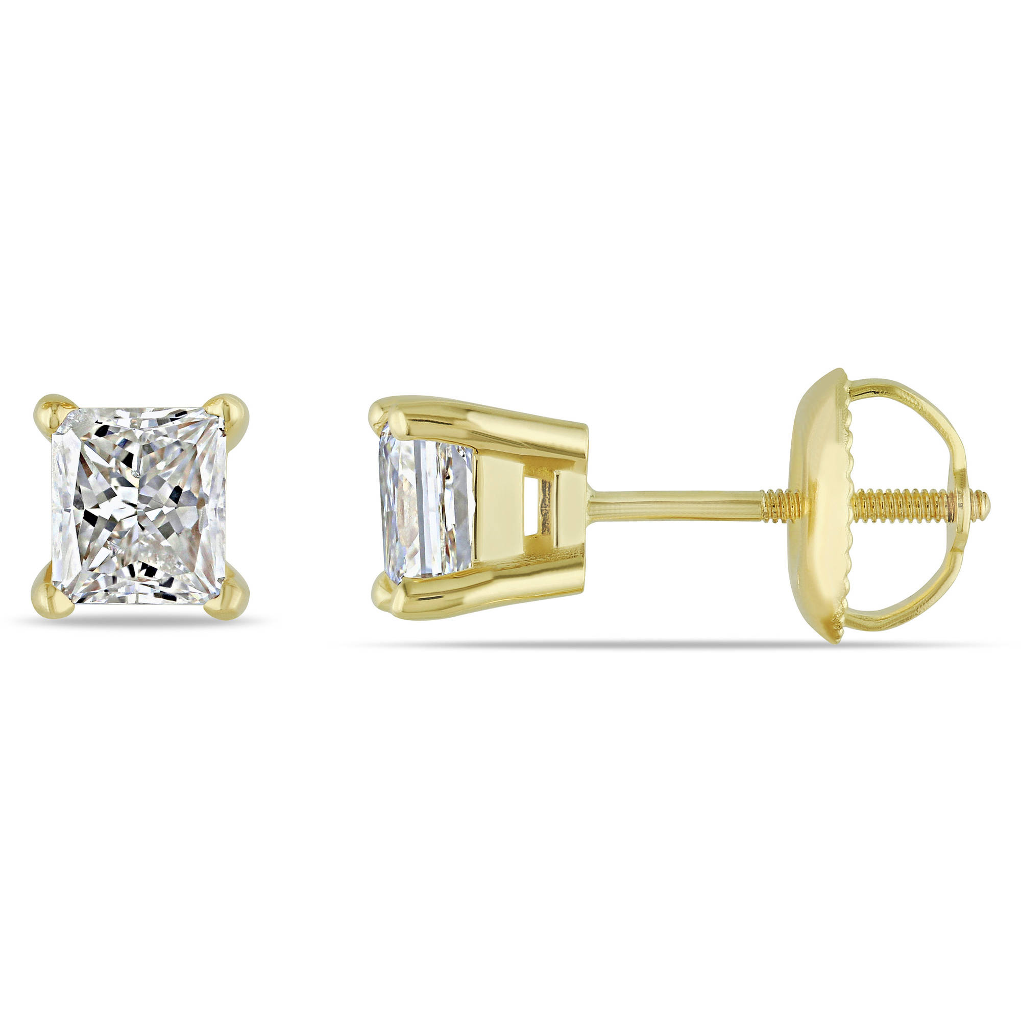 1 Carat T W Diamond 14kt Yellow Gold Stud Earrings Walmart
