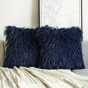 "Phantoscope Merino Style Faux Fur Series Decorative Throw Pillow, 18"" x 18"", Navy Blue, 2 Pack"