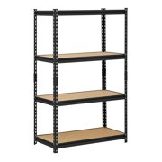 "Muscle Rack 36""W x 18""D x 60""H Four-Shelf Steel Shelving, Black"