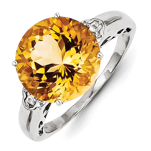 Sterling Silver with Citrine and White Topaz Round Ring Size 6 by