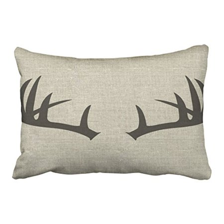 WinHome Simple Fashion Popular Vintage Deer Antlers Silhouette Pattern Polyester 20 x 30 Inch Rectangle Throw Pillow Covers With Hidden Zipper Home Sofa Cushion Decorative Pillowcases ()