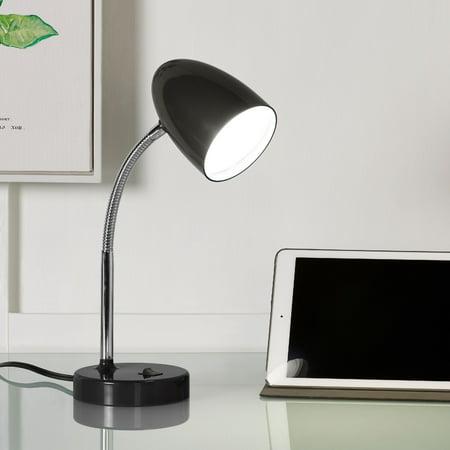 Mainstays LED Desk Lamp, Flexible Metal Gooseneck, Black