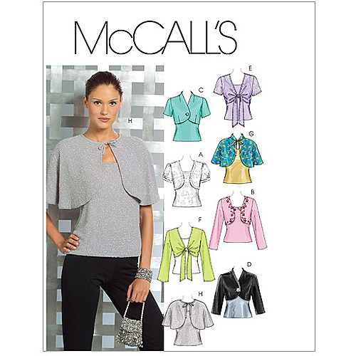 McCall's Pattern Misses' Lined and Unlined Shrugs and Lined Capelets and Top, AAX (4, 6, 8, 10)
