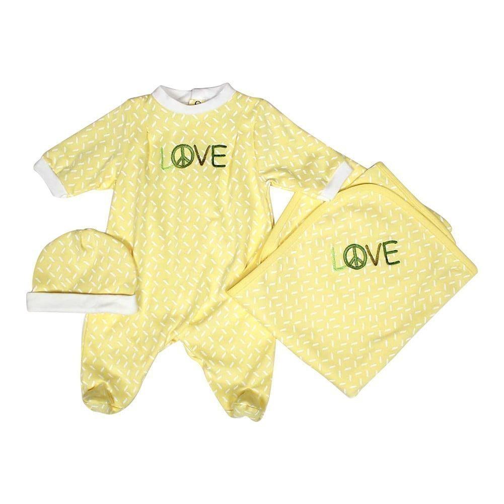 """Raindrops Unisex Baby Yellow LOVE Footie Receiving Blanket Cap Set 28"""" x 34"""" by Raindrops"""