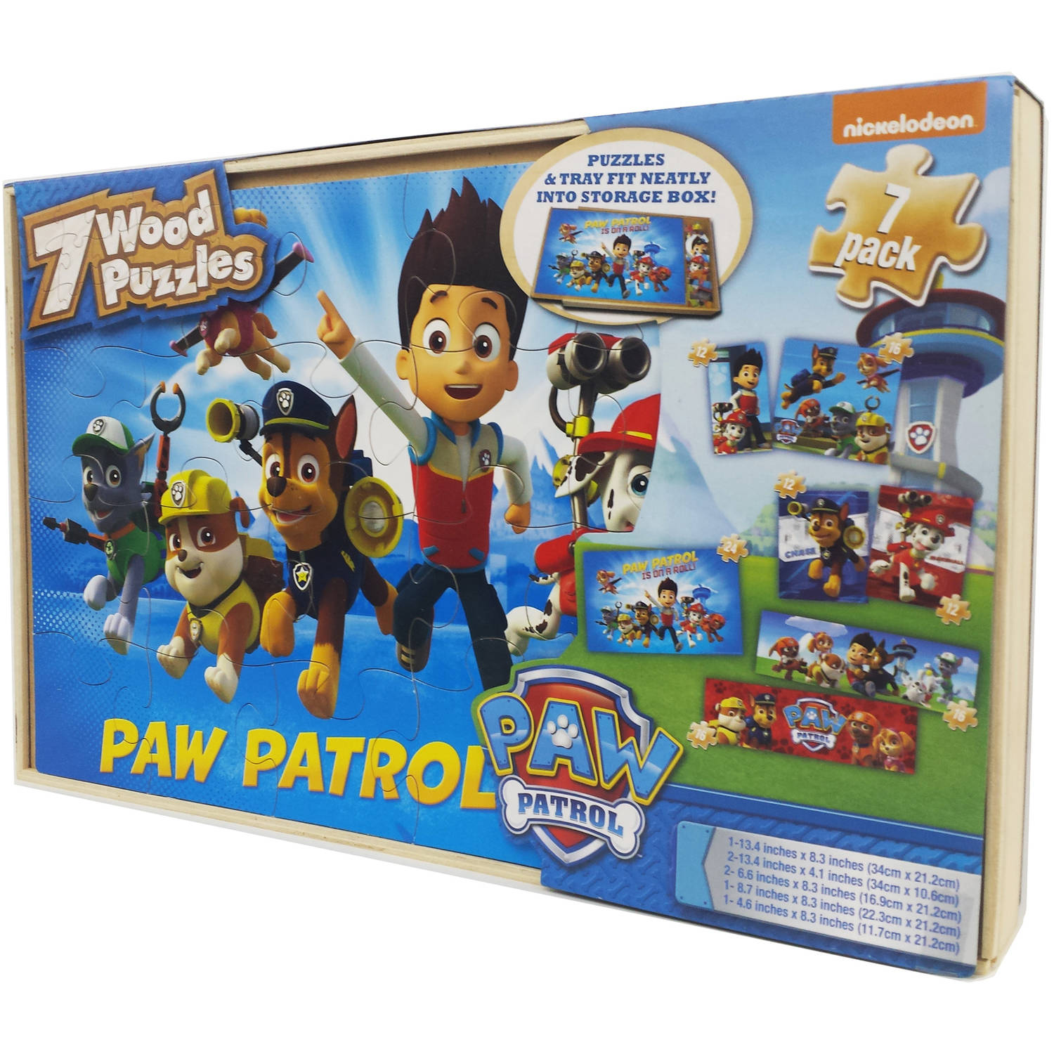 Nickelodeon Paw Patrol 7 Wood Jigsaw Puzzles in Wood Storage Box by Cardinal Games
