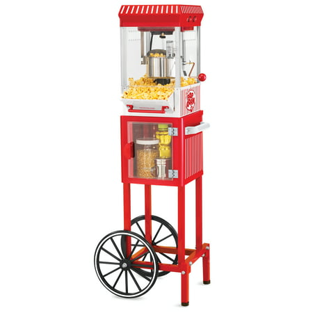 Nostalgia KPM200CART 45-Inch Tall Vintage Collection 2.5-Ounce 10-Cup Kettle Popcorn - Contempo Popcorn Popper Cart