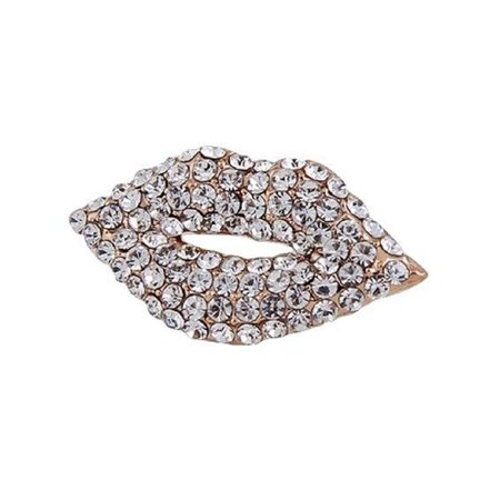 PAPER & QUARTZ Diamond Kiss Lips Women Girls Fashion Brooch Lapel Pin 0.9""