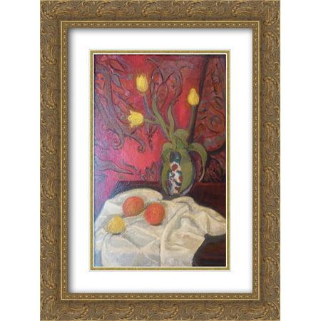 Roger de La Fresnaye 2x Matted 18x24 Gold Ornate Framed Art Print 'Yellow tulips ' ()