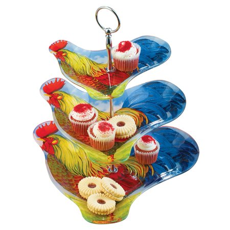 3-Tier Colorful Country Farmhouse Rooster Glass Serving Tray for Snacks, Desserts, Appetizers and More (Halloween Snacks Appetizers)