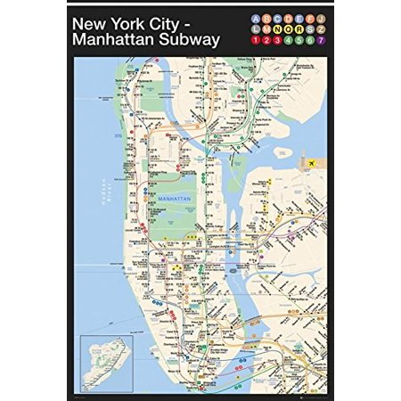 New York City Navigating Subway Map.New York City Manhattan Subway Map 36x24 Transportation Art Print Poster