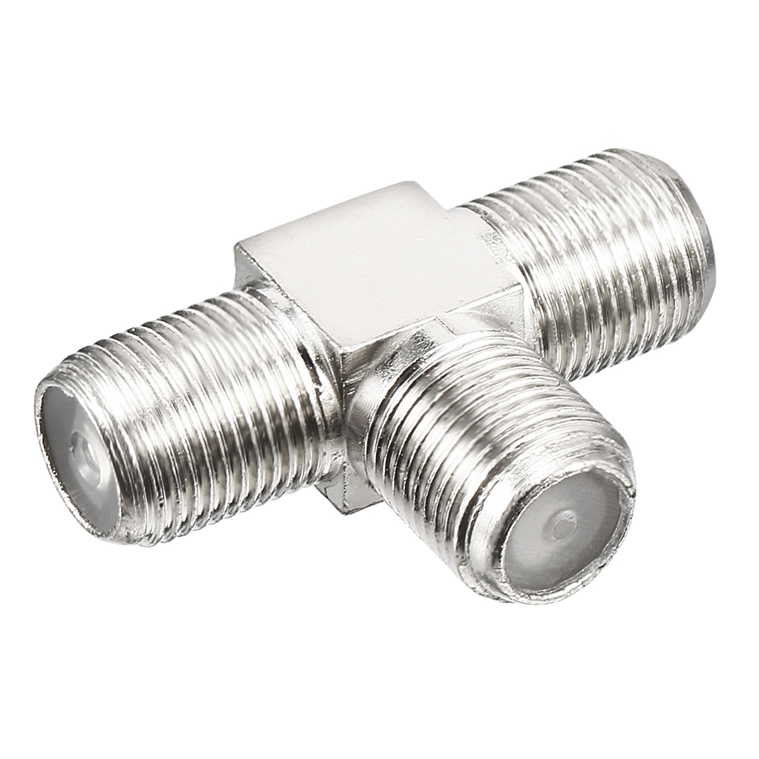 Silver Tone BSP 3 Ways F Female Jack RF Coaxial Adapter Connector