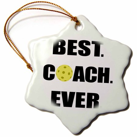 3dRose Best Coach Ever Pickleball - Snowflake Ornament, (Best Shoes For Pickleball)