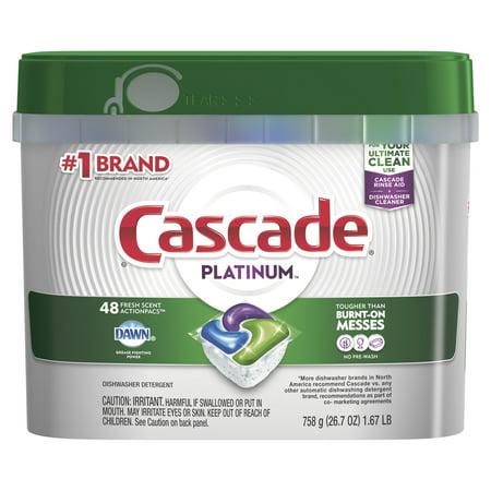 Cascade Platinum ActionPacs, Dishwasher Detergent, Fresh Scent, 48 count
