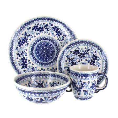 Polish Pottery Vintage Blue Daisy 4 Piece Dinner