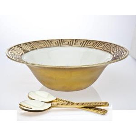 Greek Key Porcelain Gold Salad Bowl And Serving Fork And Spoon Utensils