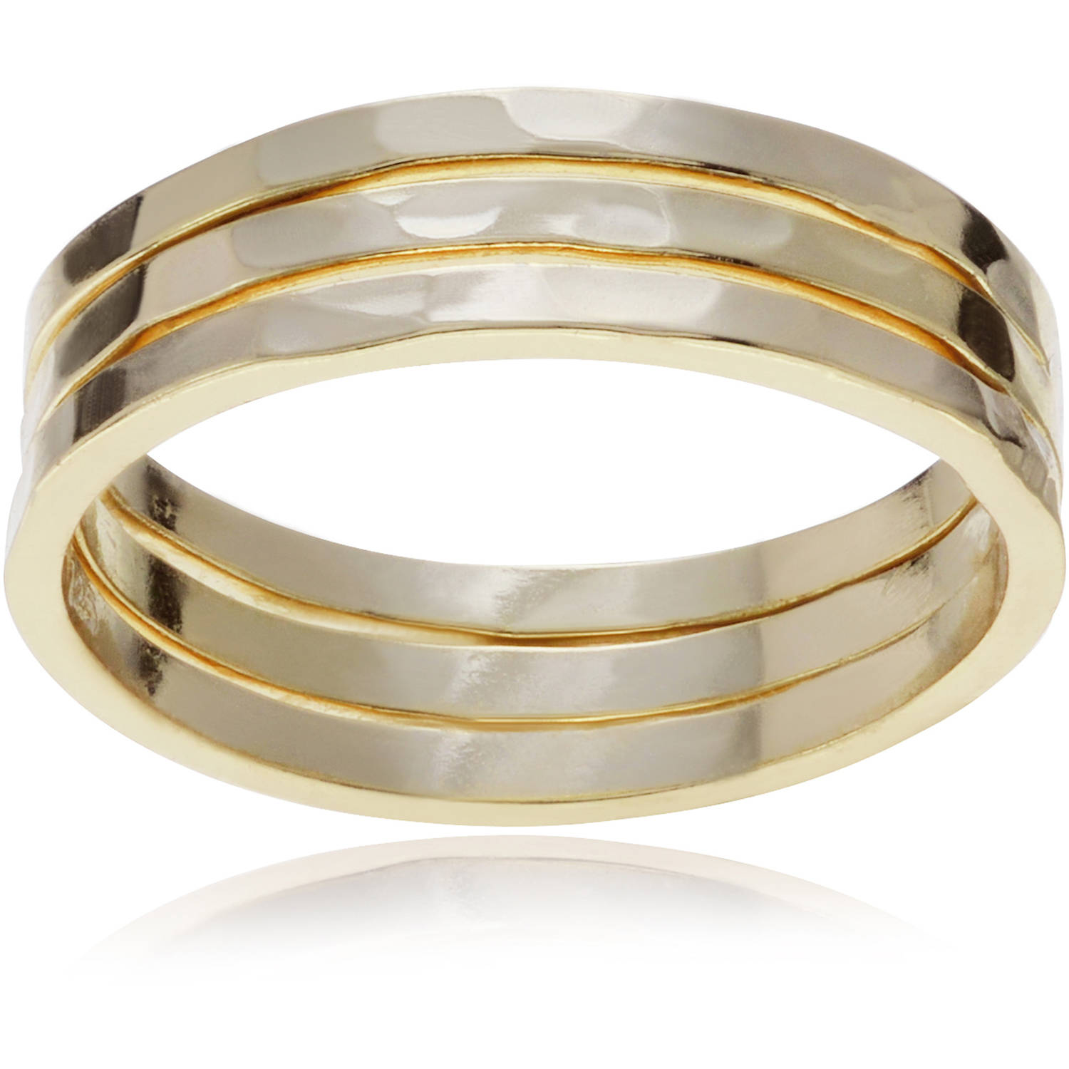 Brinley Co. Women's Sterling Silver Trio Hammered Fashion Ring Set, 3 Rings, Gold