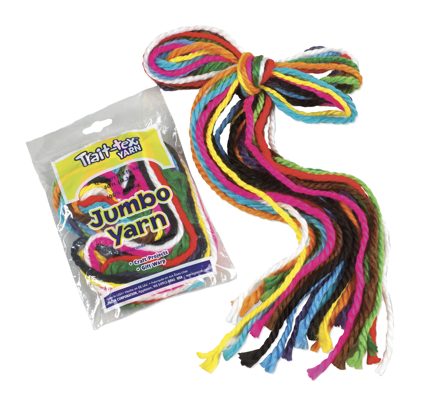 Trait Tex Acrylic Jumbo-Weight Yarn, 5 ft Plastic Storage Bag, Assorted Color, Pack of 12