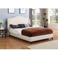 "HomeLife® 53"" Light Beige Cream Curved & Diamond Tufted Headboard Platform Bed"