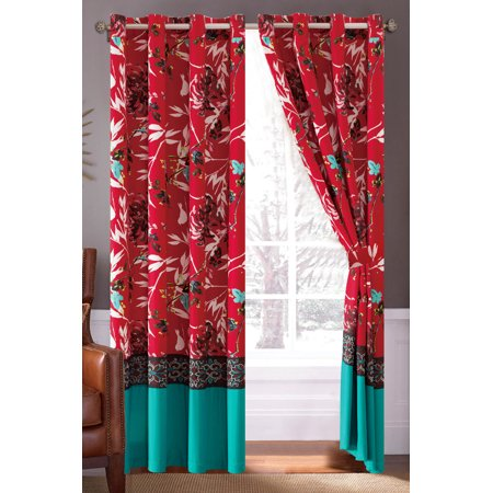 4-Pc Sachi Tree Branches Silhouette Leaves Birds Floral Damask Curtain Set Turquoise Blue Red Black Valance Sheer Liner (Damask Silhouette)