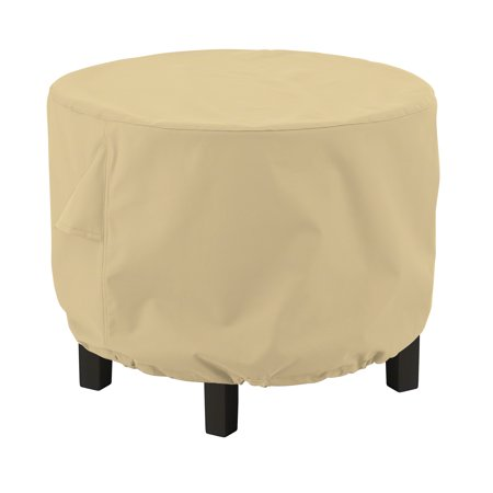 "Classic Accessories Terrazzo® Round Ottoman Cover or Coffee Table Cover - Water Resistant Outdoor Furniture Cover, 24""DIA x 20""H , Small, Sand"