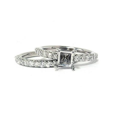 (1ct Half Eternity Diamond Bridal Set Mounting 14K White Gold)