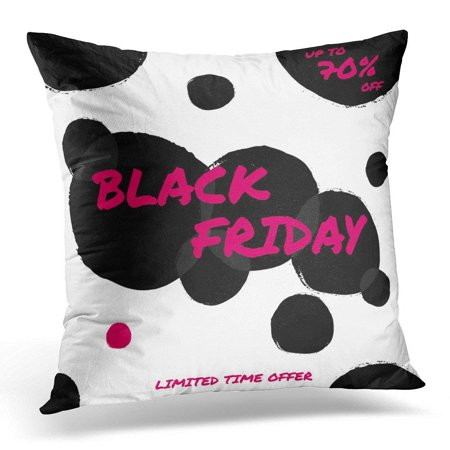 ARHOME Autumn Abstract Black Friday Sale Design with Text in Pink and Bubbles on White with Brush Throw Pillow Case Pillow Cover Sofa Home Decor 16x16 Inches
