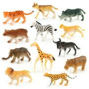 drunkilk 12pc Kids Childrens Assorted Plastic Toy Wild Animals Jungle Zoo Figure