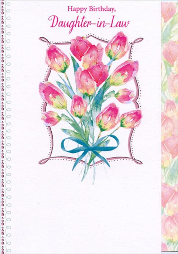 designer greetings pink flowers inside swirling pink foil