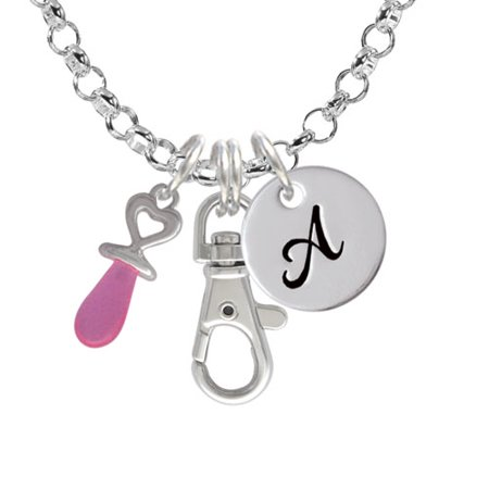 3-D Pink Baby Pacifier - A - Initial Badge Clip Necklace