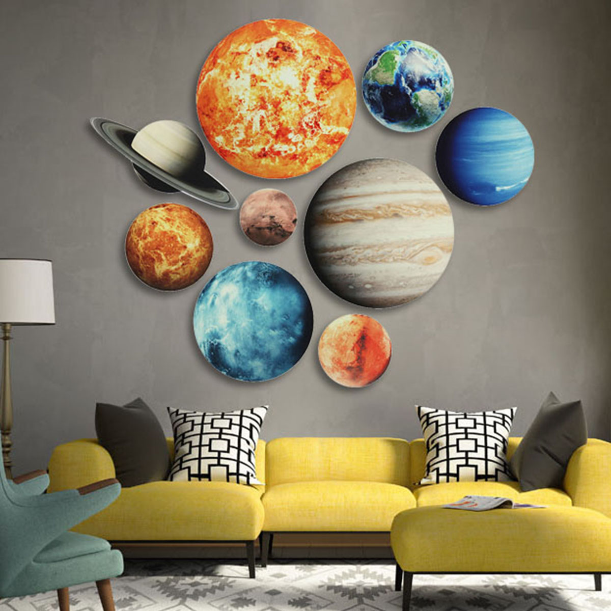 Solar System Wall Stickers Glow In The Dark 9 Planets Mars Outer Space Decal Bedroom Dining Room Decor