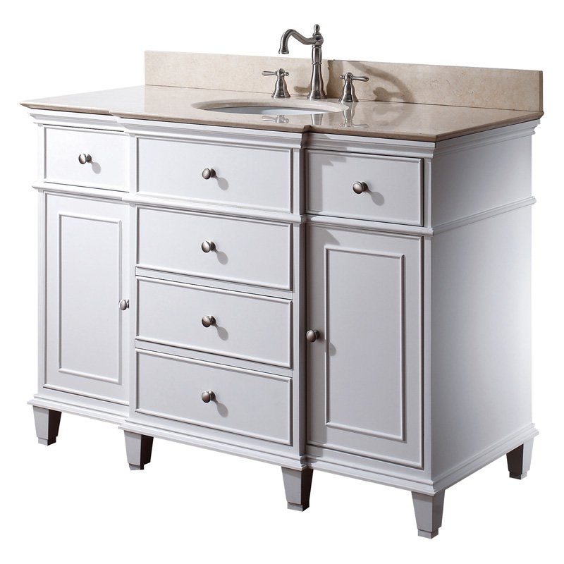Avanity WINDSOR-V48-WT Windsor 48 in. Single Bathroom Vanity - White