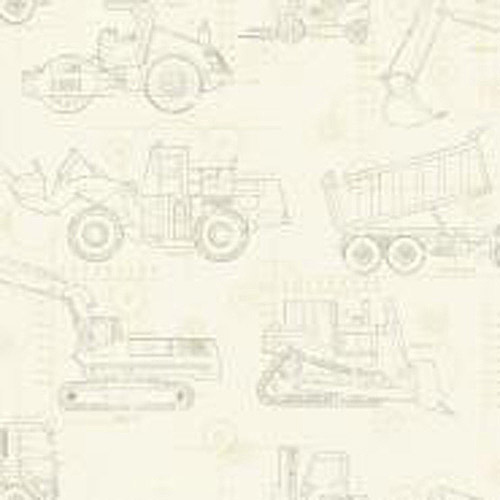 Cool Kids Construction Blueprint Wallpaper, Ecru/Tan/Grey