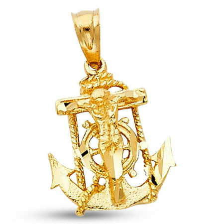 14k Gold Mariners Cross - Jesus Anchor Crucifix Pendant Solid 14k Yellow Gold Mariner Cross Charm Religious Design 15 x 14 mm