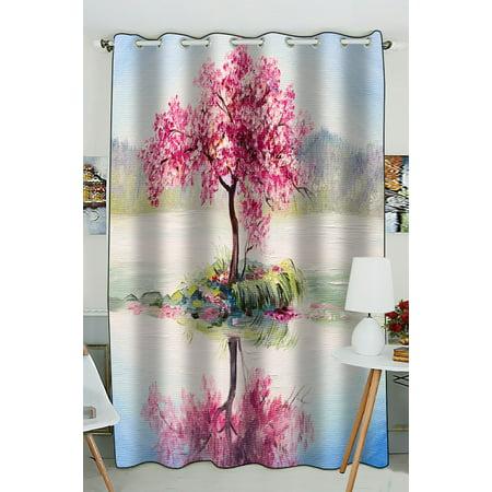 Phfzk Oil Painting Landscap Window Curtain Cherry Blossom