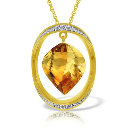 Briolette Natural (ALARRI 14K Solid Gold Necklace w/ Natural Twisted Briolette Citrine & Diamonds with 22 Inch Chain Length. )
