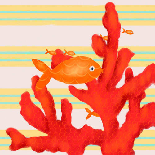 Oopsy Daisy - Canvas Wall Art Red Coral And Little Fish 21x21 By Meghann O'hara