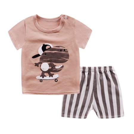 Kids Toddler Boys Girls Soft Cotton Outfits Short Sleeves T-shirt Shorts Two Piece Set Pattern:Dinosaur Size:80 - Banana Outfits