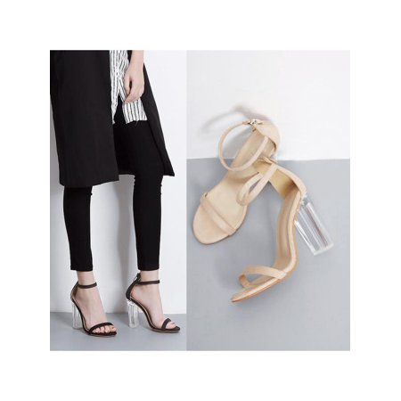 Womens Clear Transparent High Heels PVC Ankle Strap Sandals Buckle Dress -