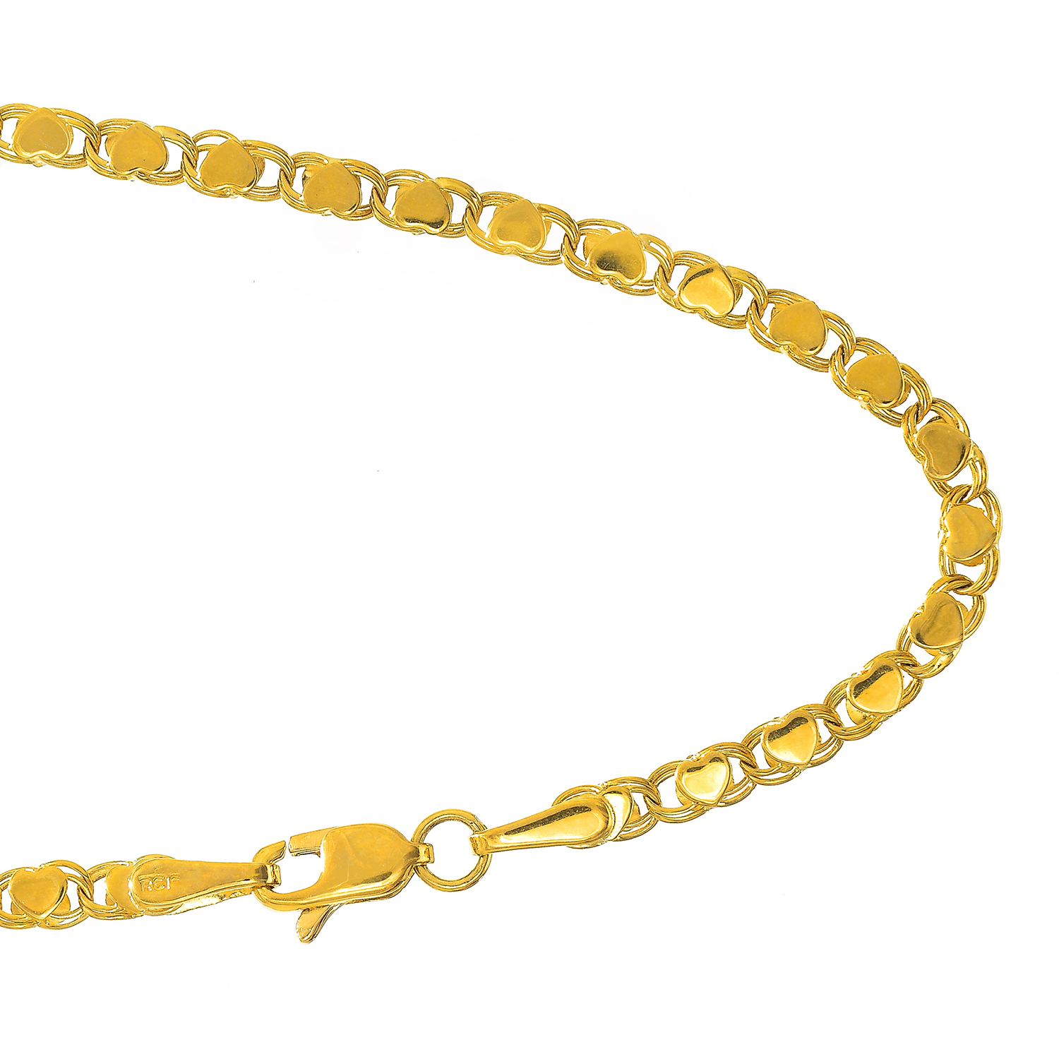 """14k Solid Yellow Gold 2.9 mm Heart Chain Bracelet, Lobster Claw 5.5"""" 7"""" 8"""" by JewelStop"""